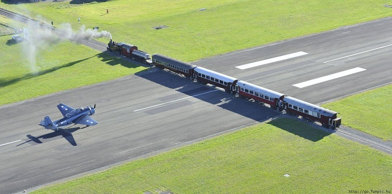 Gisborne Airport Railway Line Intersecting the Runway in New zealand