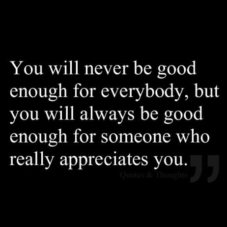 You will never be good enough for everybody but you will always be good enough for someone who really appreciates you