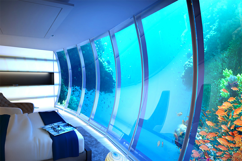 The Hydropolis Underwater Hotel is situated 30 meters below the surface of the Persian Gulf off the coast of Jumeirah in Dubai.