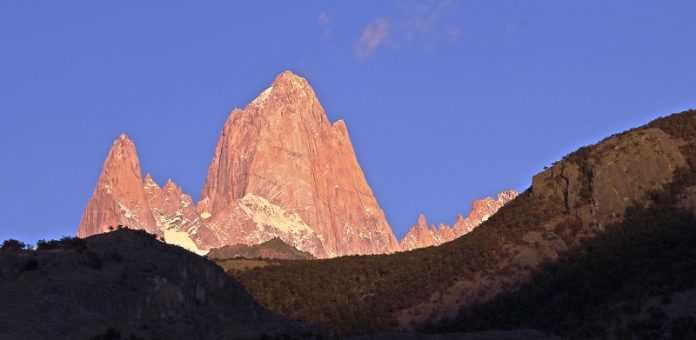 "Breathtaking Natural Mountain ""Fitz Roy"" is a Popular Tourists Destination at the border of Argentina and Chile. 0"