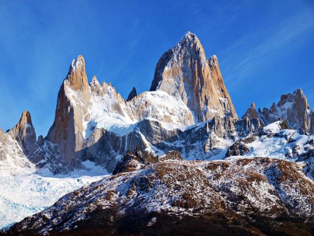 "Breathtaking Natural Mountain ""Fitz Roy"" is a Popular Tourists Destination at the border of Argentina and Chile."