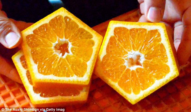 Farmers in Japan have created pentagon-shaped fruits.
