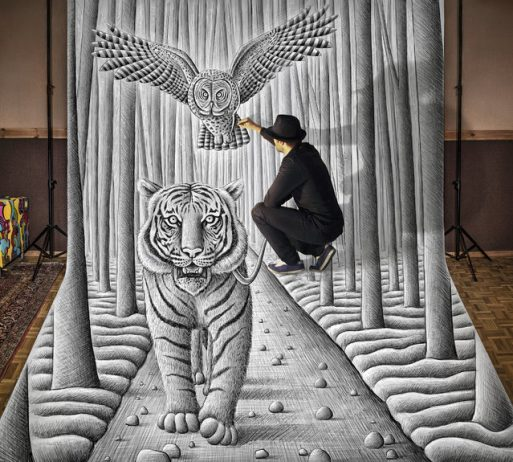 """Magnificent Pencil Drawings of """"Anamorphic Illusions""""3"""