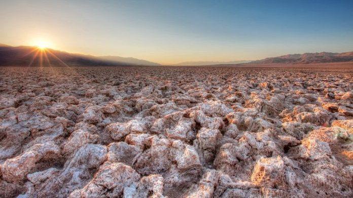 The Salt Pan of Devil's Golf Course Death Valley in California