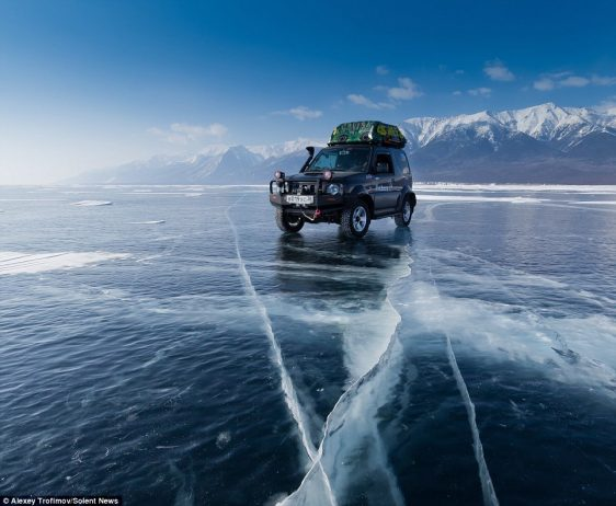 Alexey Trofimov made the 500-mile journey across Lake Baikal in Siberia in a specially adjusted Suzuki Jimny SUV