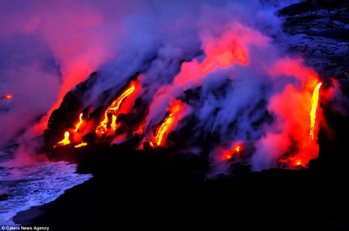 Lava crashing into the Sea off Hawaii11