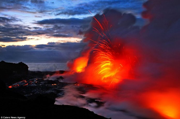 Lava crashing into the Sea off Hawaii16