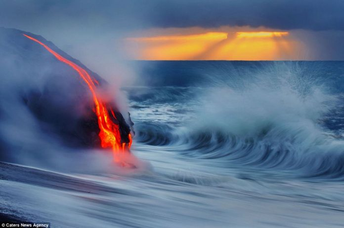 Lava crashing into the Sea off Hawaii2