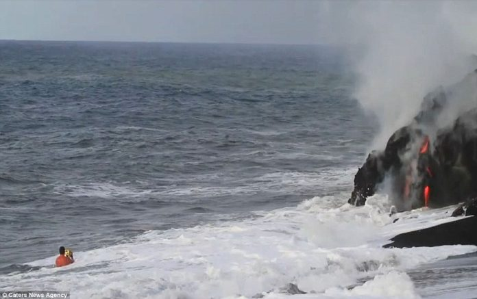 Lava crashing into the Sea off Hawaii5