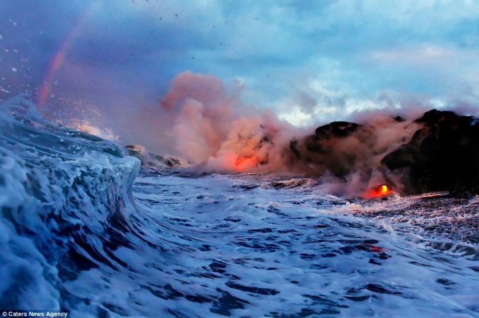 Lava crashing into the Sea off Hawaii6