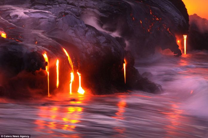 Lava crashing into the Sea off Hawaii7