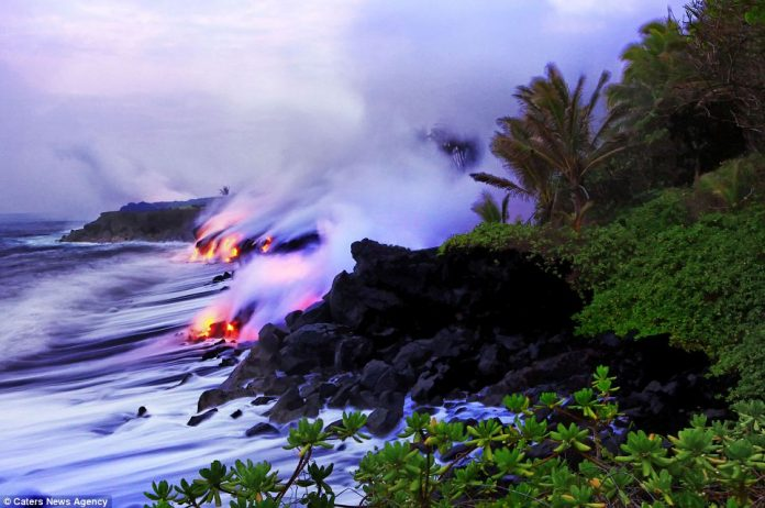 Lava crashing into the Sea off Hawaii8