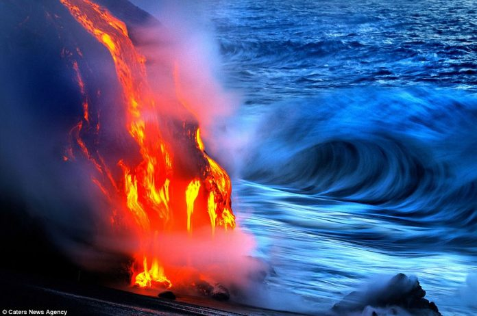 Lava crashing into the Sea off Hawaii9