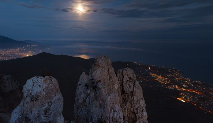 Ai-Petri is famous peak in Crimean Mountains. For administrative purposes it is in the Yalta municipality of Crimea above the city of Alupka.