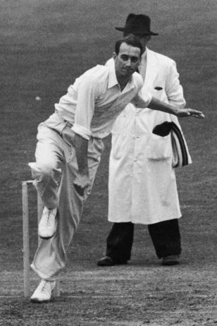 Hugh Tayfield of South Africa bowls against Surrey at The Oval, London, 18th July 1955