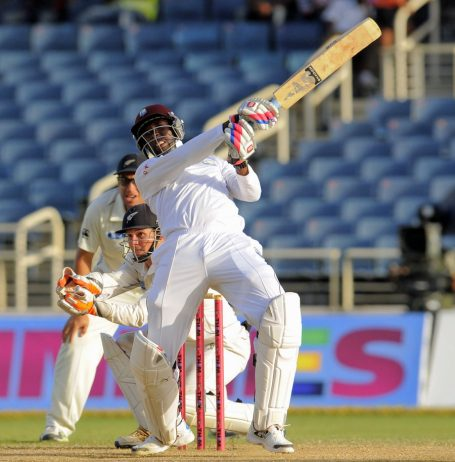 Shane Shillingford the first No. 11 to hit five sixes in a Test innings © WICB Media-Randy Brooks Photo