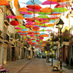 Attractive Colorful Canopy of Umbrellas Charms the Streets of Portugal