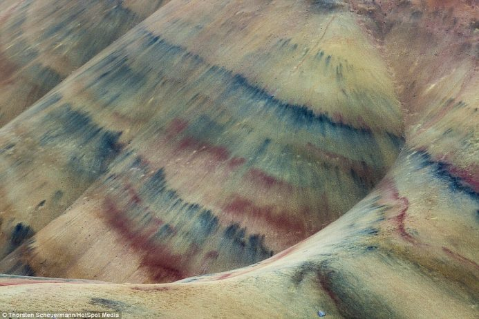 The Painted Hills in National Monument, Oregon, have remarkable patterns that look as though there must have been intervention from man to create them