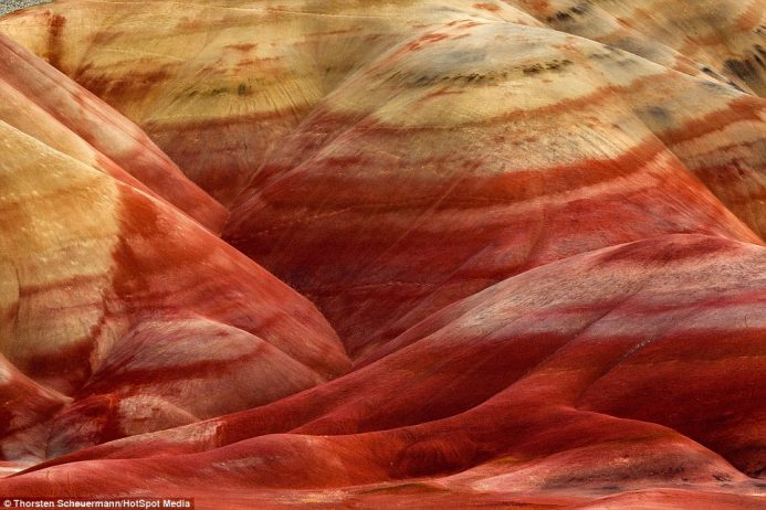The colours are formed by different kinds and ages of rock that have been shaped over time into these amazing formations