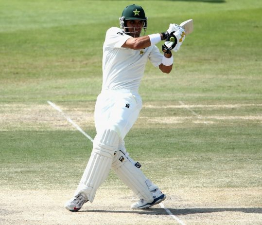 Misbah-ul-Haq converted the fastest fifty in Test cricket - off 21 balls - into the joint-fastest century - off 56 balls - on the fourth day in Abu Dhabi on Nov 02, 2014© Getty Images