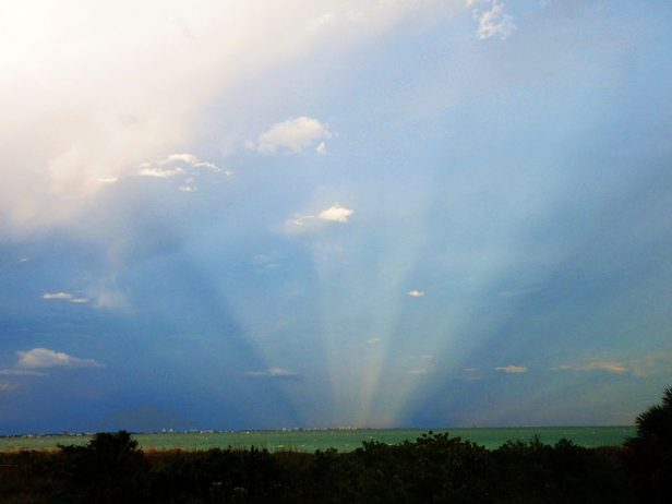 Anticrepuscular rays opposite the setting sun off the Florida Gulf Coast of the United States