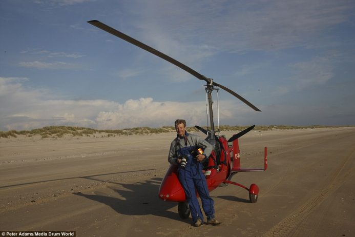 British adventurer Peter Adams has been taking photography to new heights using light aircraft, helicopters and gyrocopters
