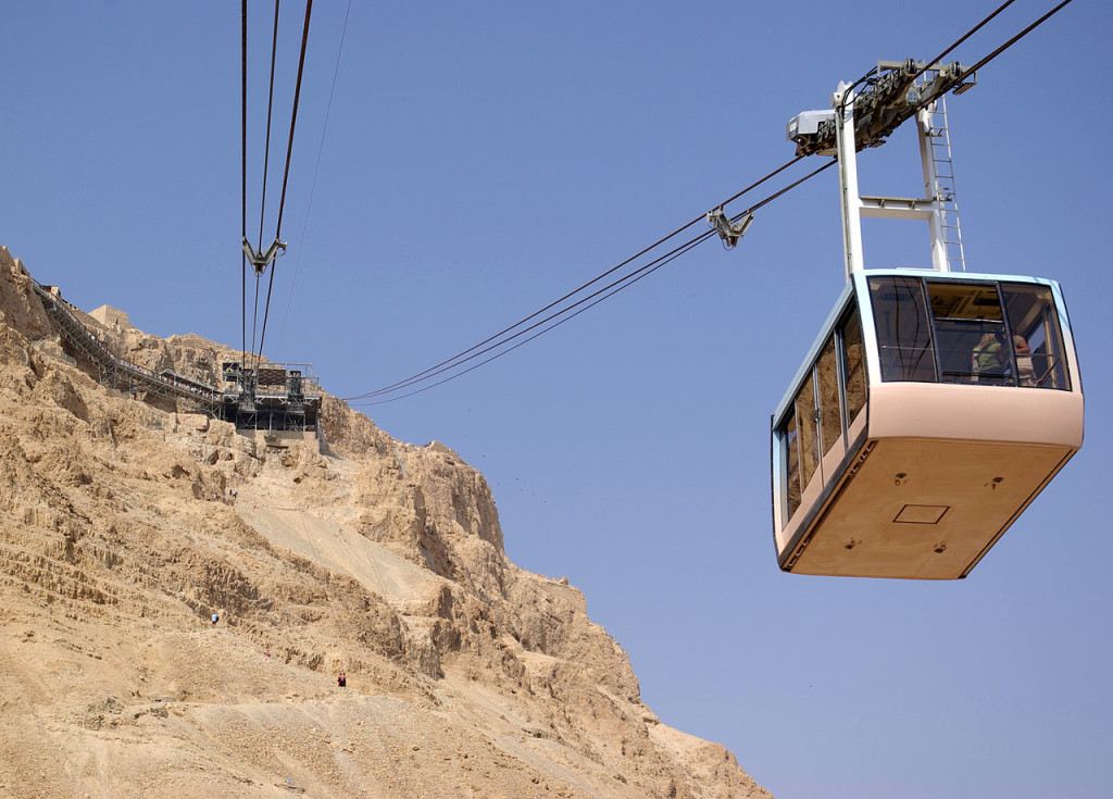 Cable car heading down from Masada