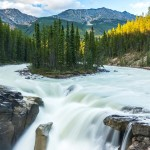 Sunwapta Falls in Jasper National Park Canada