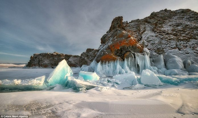 Despite the dangers Andrey said the opportunity to photograph the spectacular ice cave was 'well worth the risk'