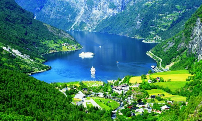Power Of Human And Nature Beautiful Geirangerfjord In