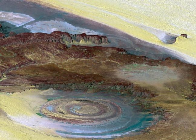 The magnificent Eye of Africa Atlantis is 30 miles in diameter, very large in the featureless Sahara that the earliest space missions used it as a landmark.