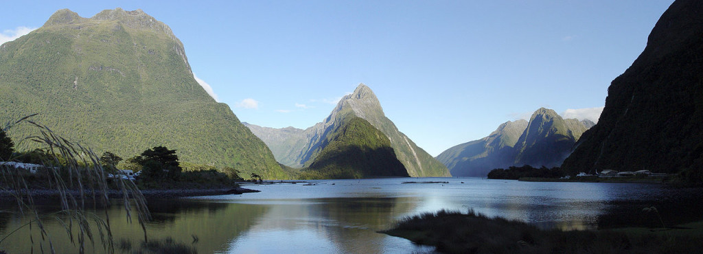 Panorama of Milford Sound looking northwest from the township.