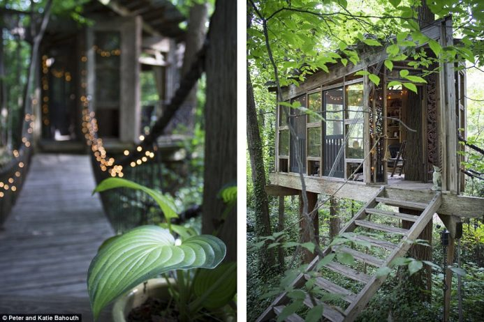 The tree house consists of three separate rooms which can be reached via rope bridges strewn with fairy lights to light the way