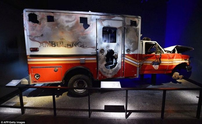 A New York Fire Department ambulance that never made it out of the melee.