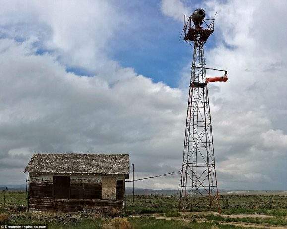 Captured near the tiny town of Medicine Bow in Wyoming, this beacon was on the famous New York to San Francisco route
