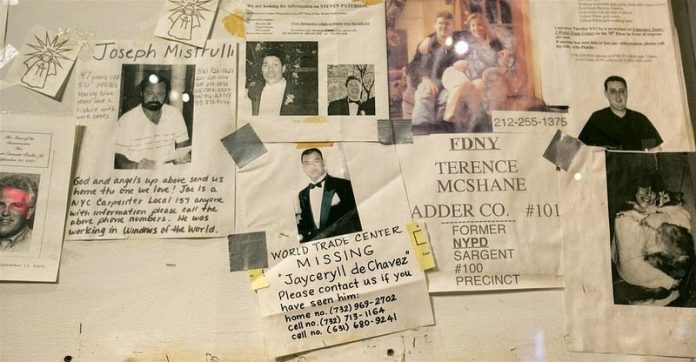 Fliers of missing people were posted outside of hospitals in the weeks following Sept. 11, 2001