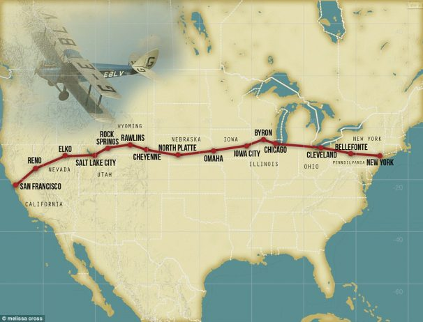One of the most important flight routes and the first to be completed, stretched across the US from New York to San Francisco