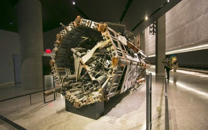 Part of the radio and television antenna from the North Tower is on display at the exhibit.