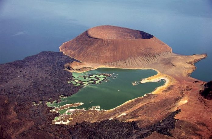 This is the Nabuyatom Crater, a geological marvel of that Lake Turkana.