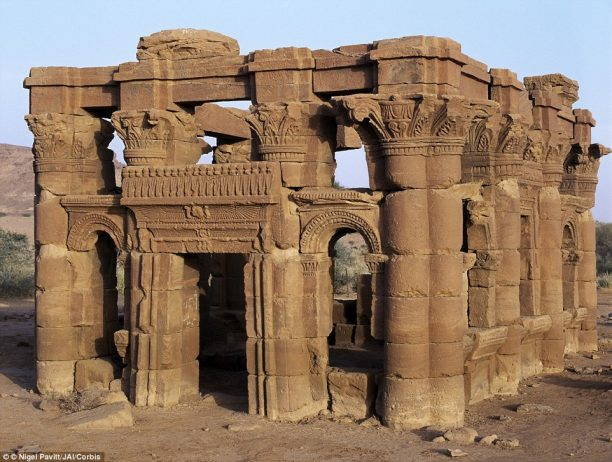 The ruins of a kiosk discovered in Naga, religious site near to the ancient Kush city of Meroe