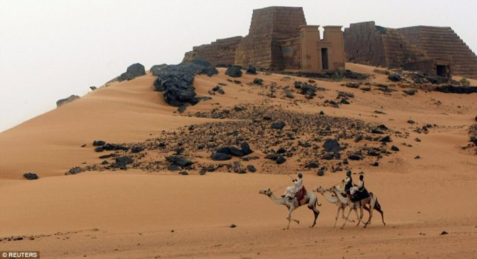 Tourists are few and far between in the forgotten pyramid village of Meroë in Sudan,