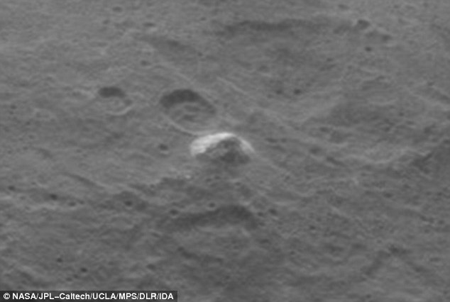 Zooming in reveals the pyramid-shaped mountain in greater detail, but its formation and origin remains a mystery.