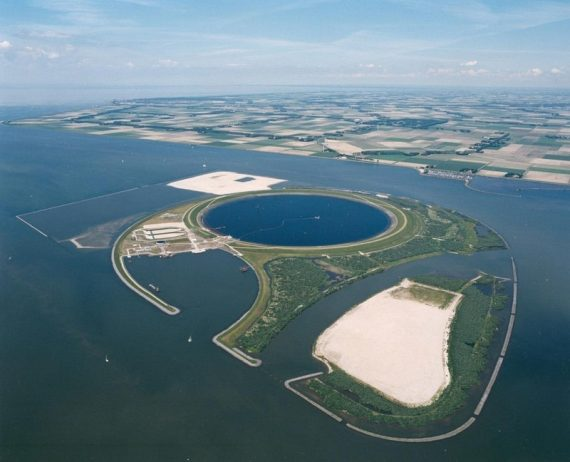 IJsseloog, the Eye of IJssel is a huge circular pit in the middle of Ketelmeer Lake in mouth of the river IJssel, in Flevoland, Netherlands