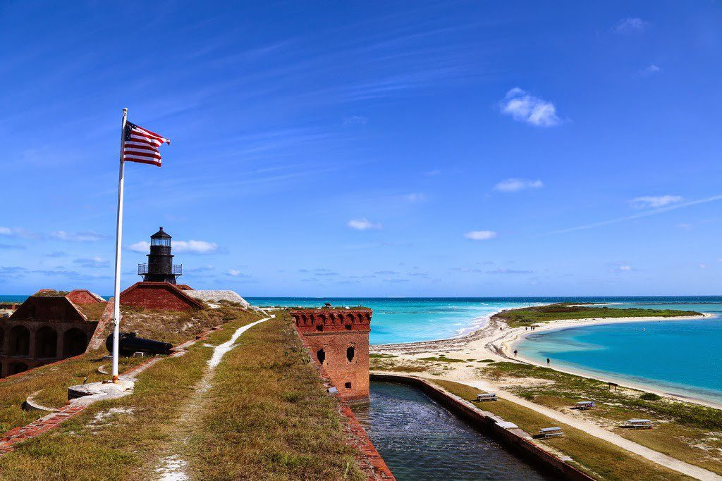The unfinished Fort Jefferson is a massive coastal fortress, actually a largest masonry structure in the United States.