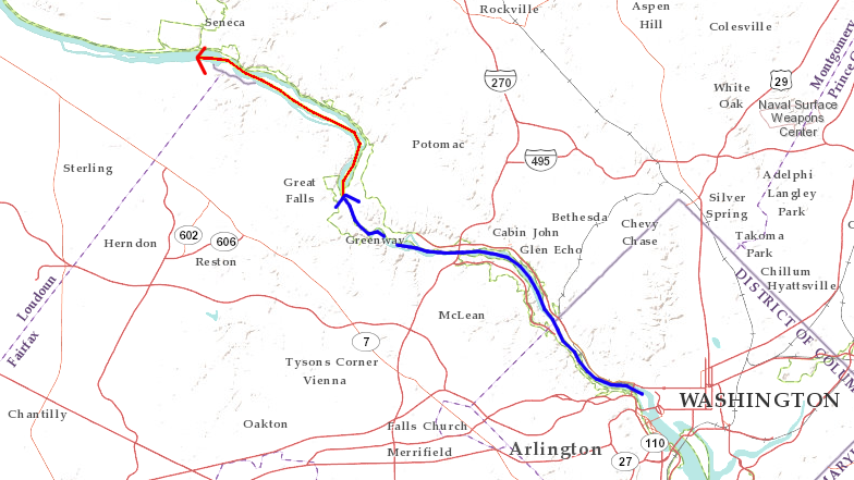 migration of Potomac River waterfall from geologic boundary at I-66 bridge upstream to Great Falls (blue), and on to Seneca Creek (red) in next million or so years