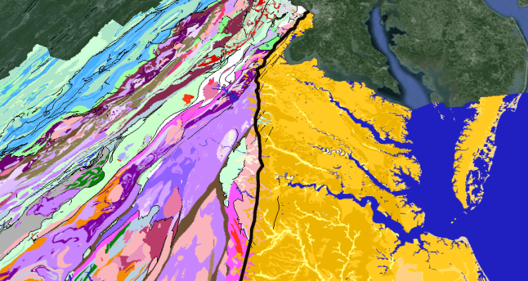 the Fall Line zone (black line) separates the Coastal Plain of eastern Virginia (yellow) from the hard bedrock of the Piedmont