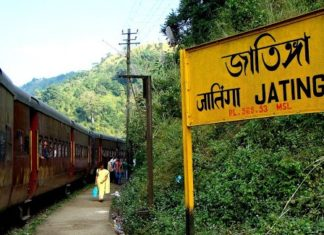 Jatinga, is a Indian village on a ridge, is located in Dima Hasao District, Assam State, approximately 330 kilometers south of Guwahati.
