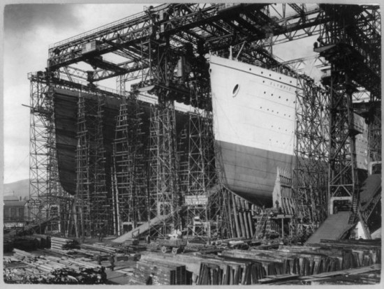 Olympic and Titanic, under construction, side by side. Belfast 1910