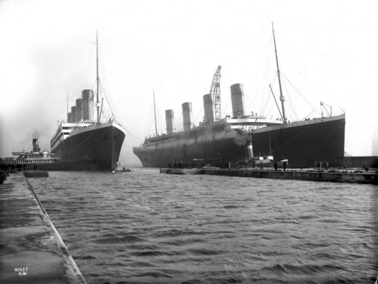 Olympic (left) and Titanic (right) at Belfast on March 6th, 1912
