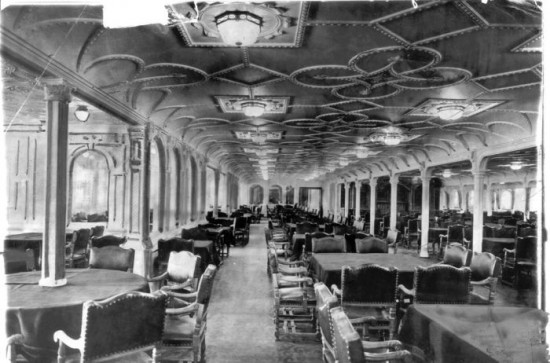 The dining room on the Titanic, 1912